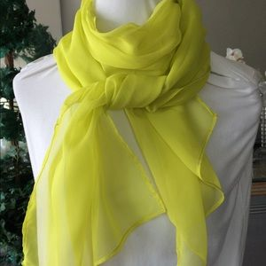 Flowing Chartreuse Sheer Long Wide Scarf